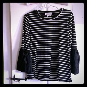 Black and white striped Anthropologie top